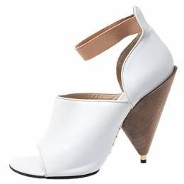 Givenchy White/Beige Leather Cone Heel Ankle Strap Sandals Size 38 252040