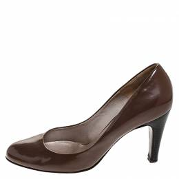 Salvatore Ferragamo Brown Patent Leather Wooden Heel Pumps Size 38.5 252047