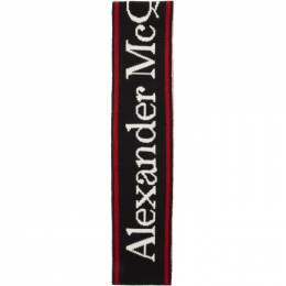 Alexander McQueen Black and White Wool Selvedge Scarf 5997184205Q