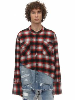 Boxy Plaid Cotton & Denim Shirt Greg Lauren 71IWQO001-UkVEL0JMQUNL0