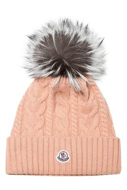 Вязаная шапка с косами и меховым помпоном Moncler 34166624