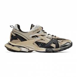 Balenciaga Beige and Black Track.2 Sneakers 568614-W2GN3