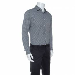 Z Zegna Monochrome Cotton Patterned Jacquard Slim Fit Shirt M 251175