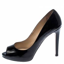 Valentino Black Patent Leather Peep Toe Platform Pumps Size 41 252458