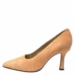 Versace Beige Suede Pointed Toe Pumps Size 38.5 251164