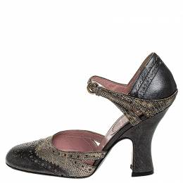 Miu Miu Metallic Grey/Silver Brogue Leather D'Orsay Strap Pumps Size 36.5