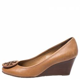 Tory Burch Brown Grained Leather Wedge Pumps Size 38.5