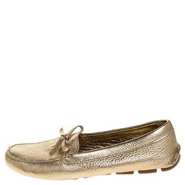 Prada Metallic Gold Leather Bow Slip On Loafers Size 38 252564