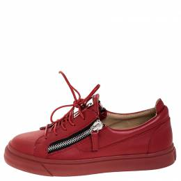 Giuseppe Zanotti Design Red Leather Double Zip Low Top Sneakers Size 38.5 252567