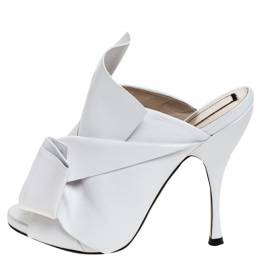 No. 21 White Leather Ronny Pleated Mules Size 37 251293