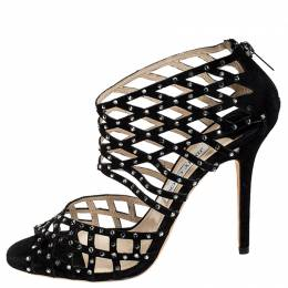 Jimmy Choo Black Suede Crystal Embellished Cut Out Strappy Sandals Size 40.5 252400