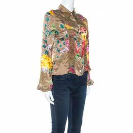 Just Cavalli Multicolor Floral Print Satin Ruffle Trim Cropped Shirt M 252218