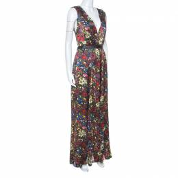 Alice + Olivia Multicolor Floral Print Silk Triss Maxi Dress M 252051