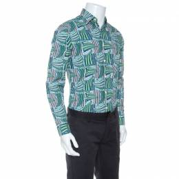 Salvatore Ferragamo Blue and Green Sailboat Print Cotton Long Sleeve Shirt S 251077