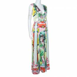 Alice + Olivia Multicolor Printed Silk Lola Lady Maxi Dress M 251895