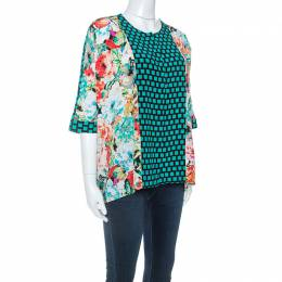 Etro Multicolor Mixed Print Silk Dolman Sleeve Blouse M 252209