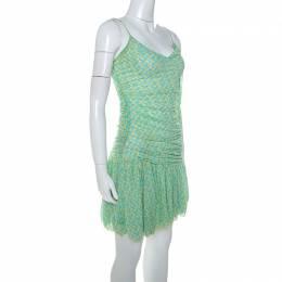 Diane Von Furstenberg Green printed Silk Mesh Drop Waist Louie Dress M 251245