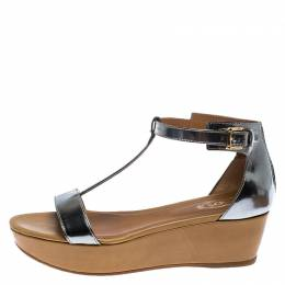 Tod's Metallic Silver Leather T-Strap Wedge Platform Ankle Strap Sandals Size 37.5 252525