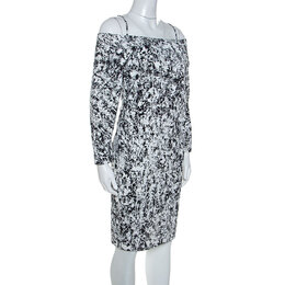 Jil Sander Monochrome Cotton Off Soulder Risiko Dress XL 251335