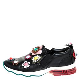 Fendi Black Leather Flowerland Fast Slip On Sneakers Size 40 251259