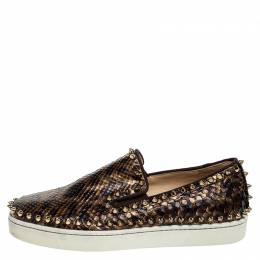 Christian Louboutin Leopard Print Python Leather Pik Boat Slip On Sneakers Size 37 251139