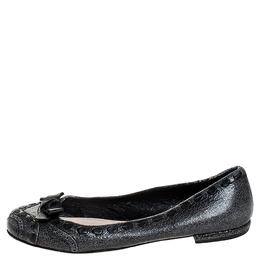 Prada Grey Textured Leather Bow Ballet Flats Size 39.5 252496