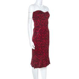 Diane Von Furstenberg Red Printed Silk Strapless Baby Jane Dress L 251231
