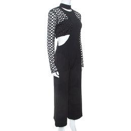 Self-Portrait Black Lace Insert Cropped Bodice Jumpsuit M 251699