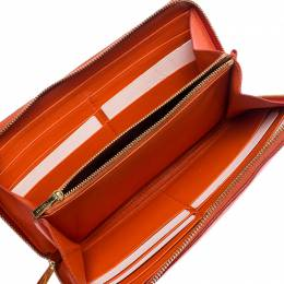 Celine Orange/Red Leather Zip Around Wallet 252247
