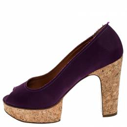 Lanvin Purple Canvas Peep Toe Platform Pumps Size 41 252481