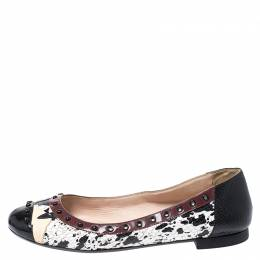 Fendi Multicolor Embossed Python And Lizard, Patent Leather Trim And Cap Toe Monster Ballet Flats Size 37 252480