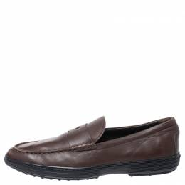 Tod's Brown Leather Slip On Penny Loafers Size 44 252487
