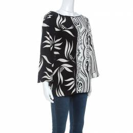 Etro Monochrome Paisley and Leaf Print Silk Blouse M 252063