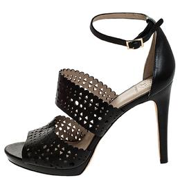 Tory Burch Black Laser Cut Scalloped Trim Leather Platform Ankle Strap Sandals Size 40 251599