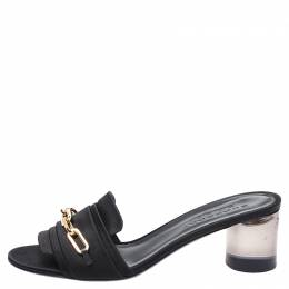 Burberry Black Satin Chain Detail Open Toe Mules Size 40 252612