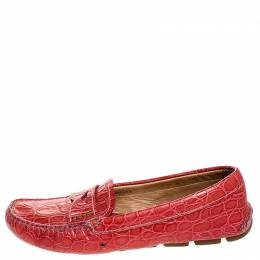 Prada Red Croc Embossed Leather Penny Loafers Size 38 253231
