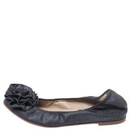 Valentino Grey Canvas Flower Detail Ballet Flats Size 35 252911