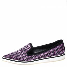 Nicholas Kirkwood Black/Purple Embroidered Satin And Suede Trim Alona Pointed Toe Loafers Size 38 252468