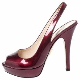 Prada Burgundy Patent Leather Platform Slingback Sandals Size 37.5 252462