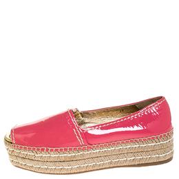 Prada Pink Patent Leather Peep Toe Platform Espadrilles Size 40 252287