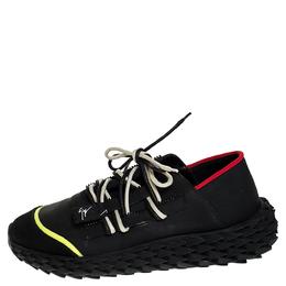 Giuseppe Zanotti Design Black Leather and Mesh Urchin Sneaker Size 43