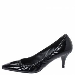 Prada Black Patent Leather Scrunch Pointed Toe Pumps Size 38.5 252601