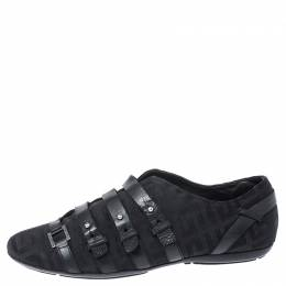 Givenchy Black Fabric and Leather Buckle Low Top Sneakers Size 38.5 252604