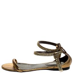 Roberto Cavalli Bronze Leather Crystal Embellished Ankle Strap Flat Sandals Size 38 252044