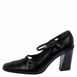 Miu Miu Black Crack Leather Cutout Square Toe Pumps Size 37.5 252176