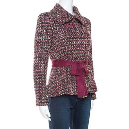 Ch Carolina Herrera Multicolor Tweed Belted Jacket M 252577