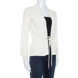 Ch Carolina Herrera White Cable Knit Cotton Drawstring Waist Cardigan XS 252570