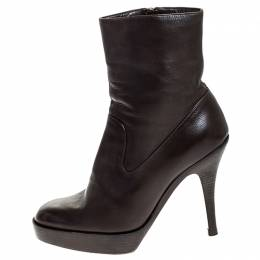 Saint Laurent Brown Leather Platform Ankle Boots Size 36.5