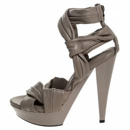 Burberry Beige Leather Back Zip Platform Sandals Size 39 251654