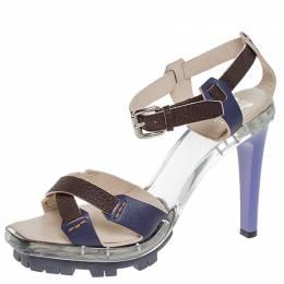 Celine Purple/Brown Cross Leather and Plexiglass Platform Ankle Strap Sandals Size 38.5